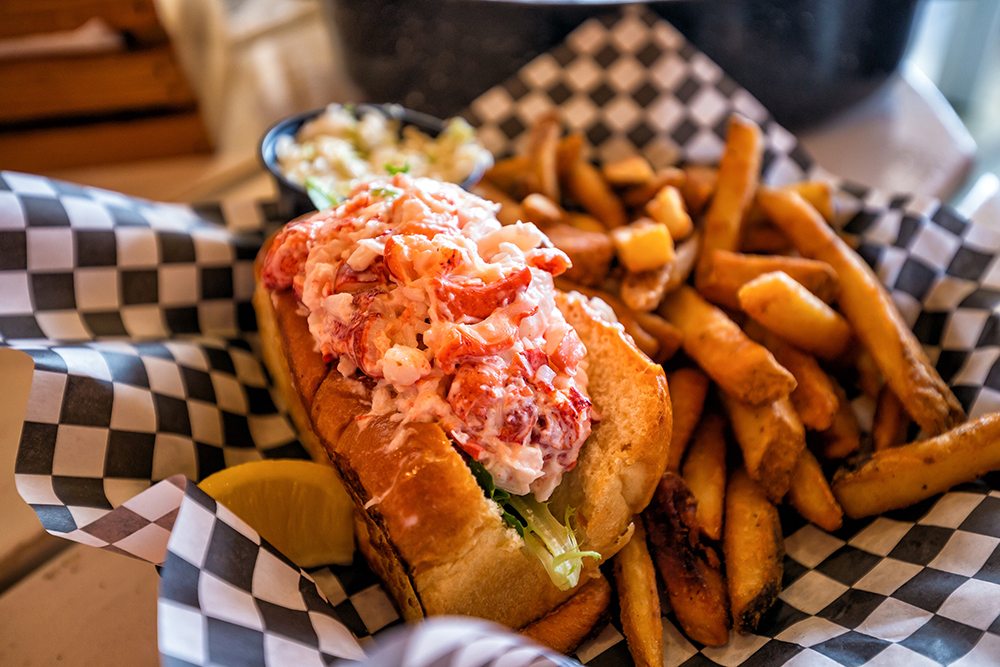 Maine lobster roll served on plate